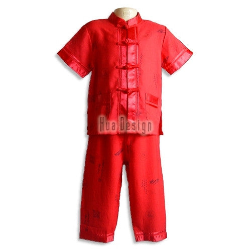 Red Boys Traditional Linen Suit