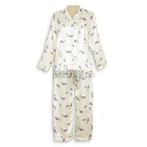 Purple Floral Satin Pajamas