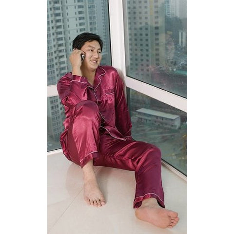 Maroon Men's Plain Satin Pajamas