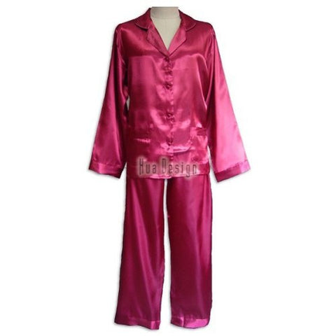 Maroon Ladies Plain Satin Pajamas