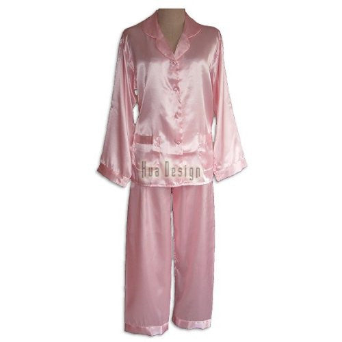 Pink Ladies Plain Satin Pajamas