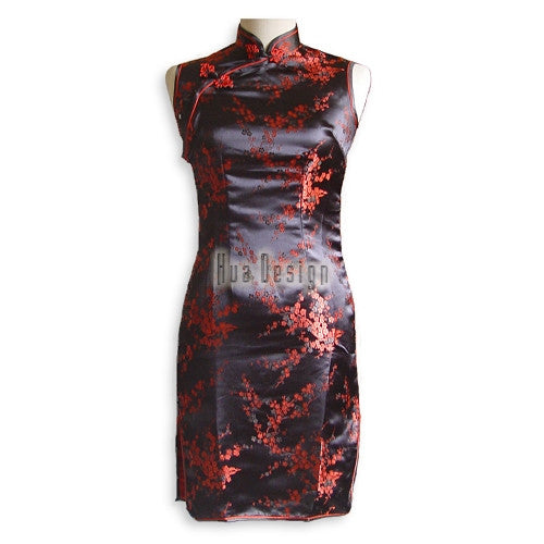 Girls Cherry Blossom Cheongsam (Black )