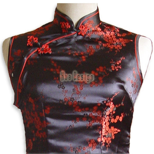 Girls Cherry Blossom Cheongsam (Black) (Close-up)