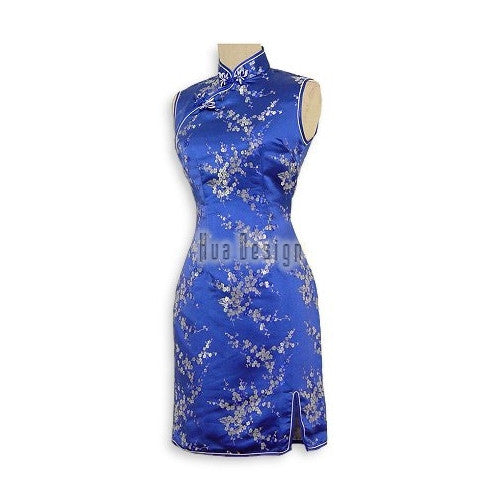 Blue Girls Cherry Blossom Cheongsam