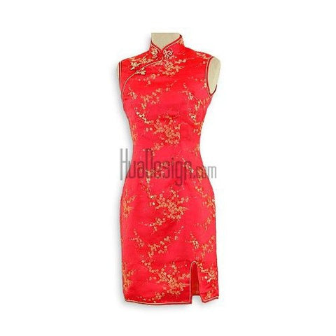 Red Girls Cherry Blossom Cheongsam