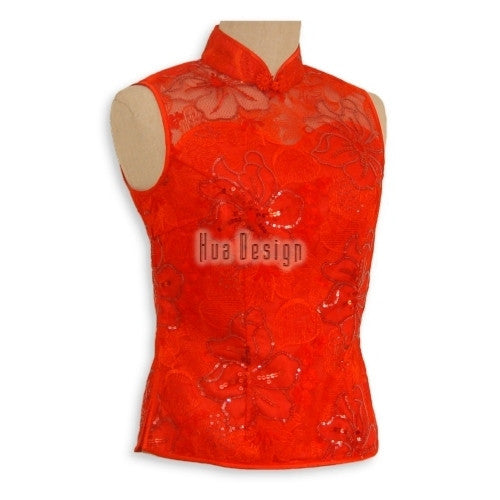 Red Sequinned Sleeveless Top