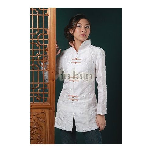 White Evening Blossom Long Jacket