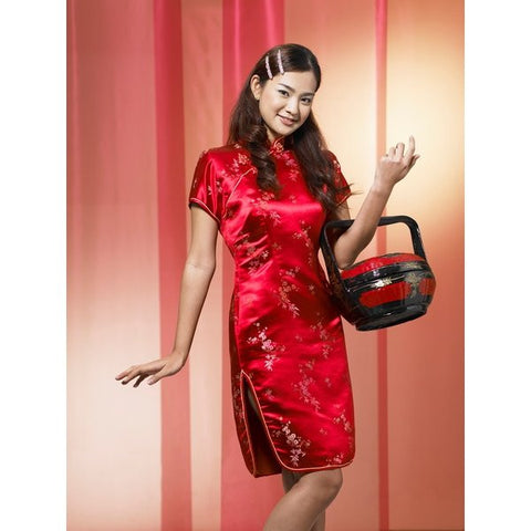 Red Brocade Flower Cheongsam (Knee Length)