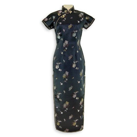 Black Brocade Flower Cheongsam (Long)