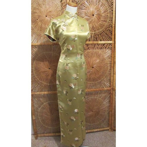 Gold Brocade Flower Cheongsam (Long)