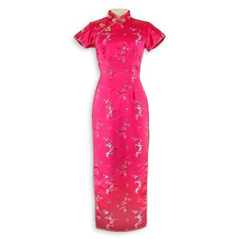 Fuchsia Pink Brocade Flower Cheongsam (Long)