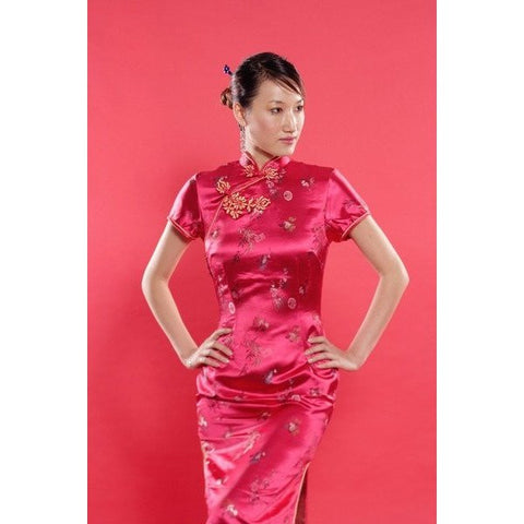 Red Brocade Flower Cheongsam (Long)