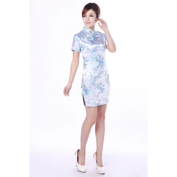 Light Blue Cherry Blossom Cheongsam (Knee Length)