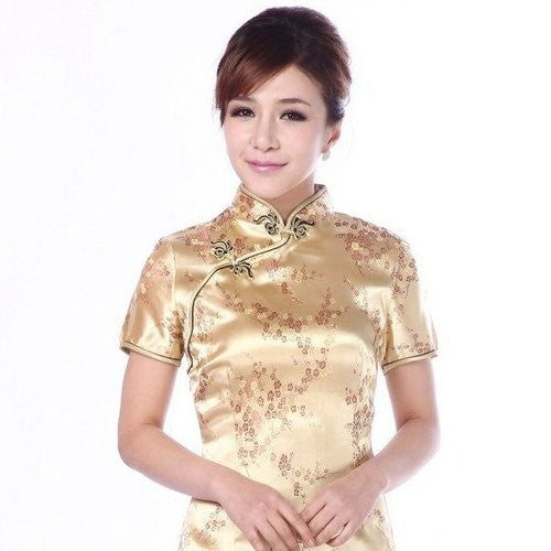 Gold Cherry Blossom Cheongsam (Knee Length)