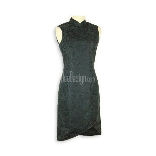 Black Prosperity Brocade Silk Cheongsam (Sleeveless)