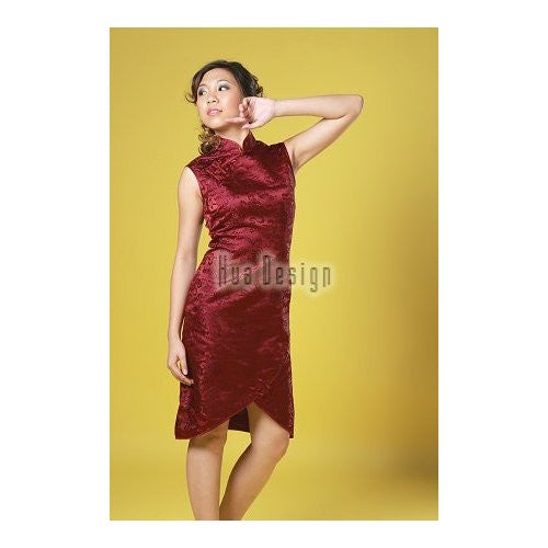 Maroon Prosperity Brocade Silk Cheongsam (Sleeveless)