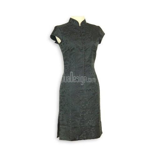 Black Prosperity Brocade Silk Cheongsam