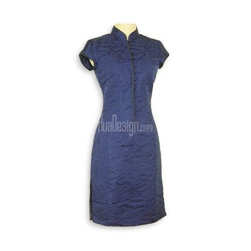 Blue Prosperity Brocade Silk Cheongsam