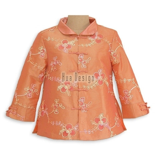 Peach Iridescent Peach Embroidery Jacket