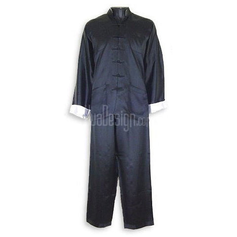 Black Plain Satin Kung Fu Suit