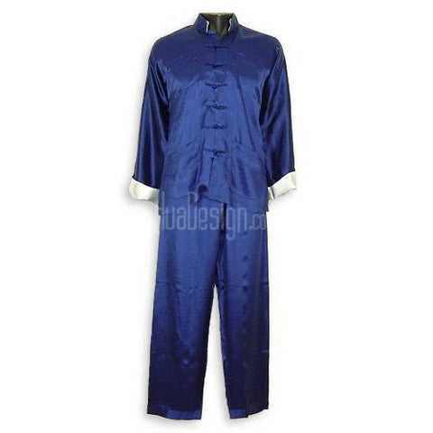 Blue Plain Satin Kung Fu Suit