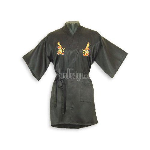 Black Embroidered Dragon Satin Happy Coat