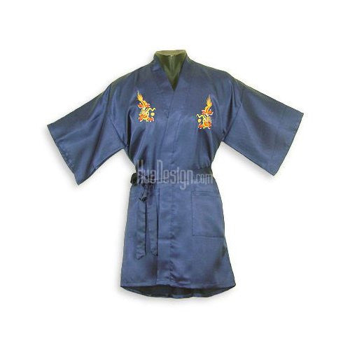 Blue Embroidered Dragon Satin Happy Coat