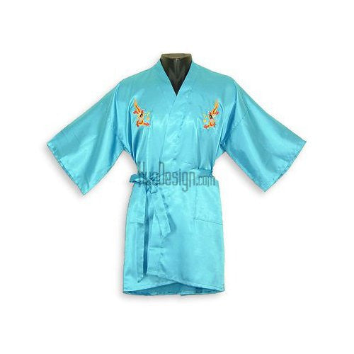 Turquoise Embroidered Dragon Satin Happy Coat