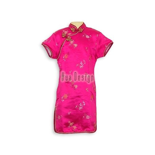 Brocade Flower Girls Cheongsam (Fuchsia Pink)