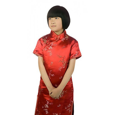 Brocade Flower Girls Cheongsam (Red)