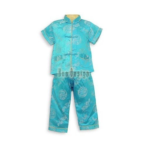 Turquoise Dragon Icon Boys Pajamas