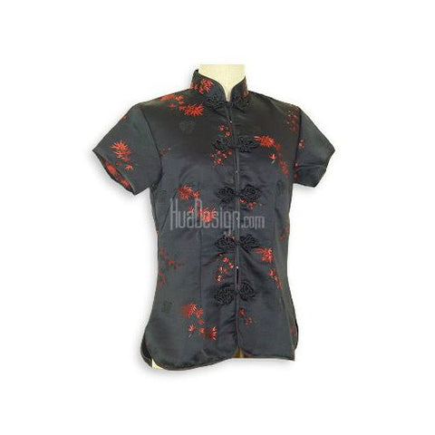 Black Bamboo Brocade Blouse