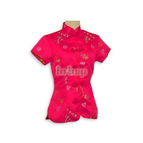 Red Bamboo Brocade Blouse
