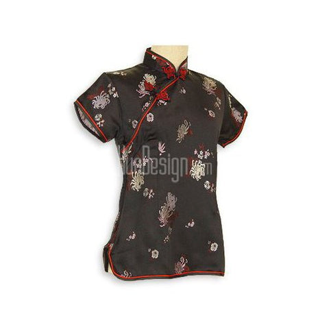 Black Spring Brocade Blouse