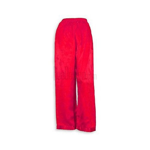 Red Floral Silk Pants