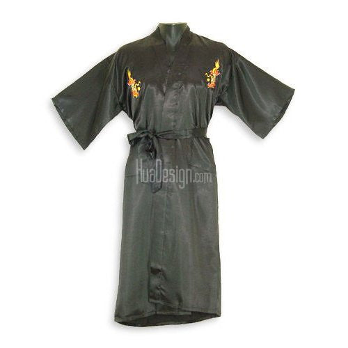 Black Embroidered Dragon Satin Kimono Robe