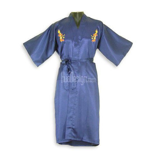 Blue Embroidered Dragon Satin Kimono Robe