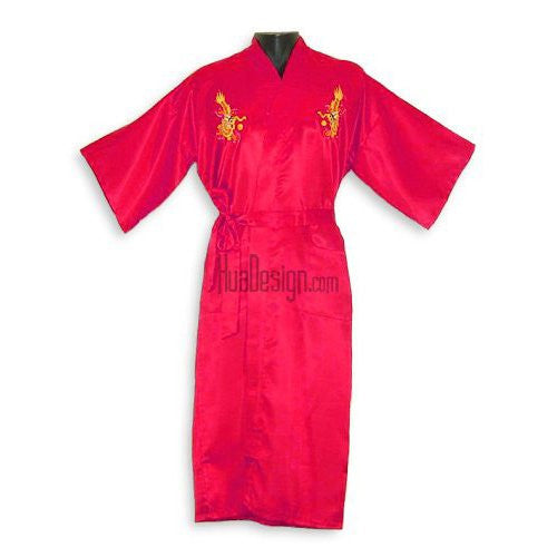 Red Embroidered Dragon Satin Kimono Robe