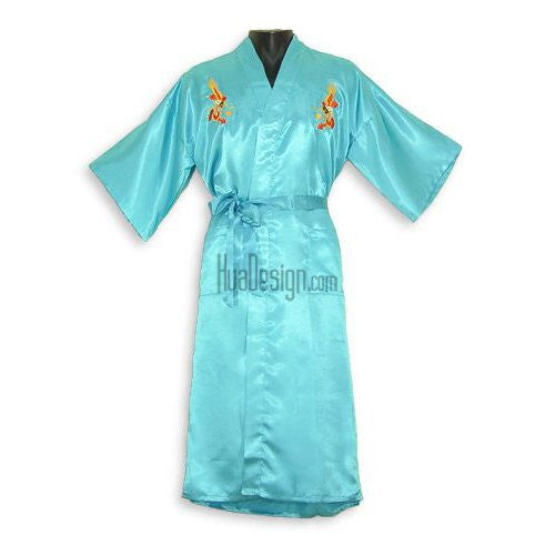 Turquoise Embroidered Dragon Satin Kimono Robe
