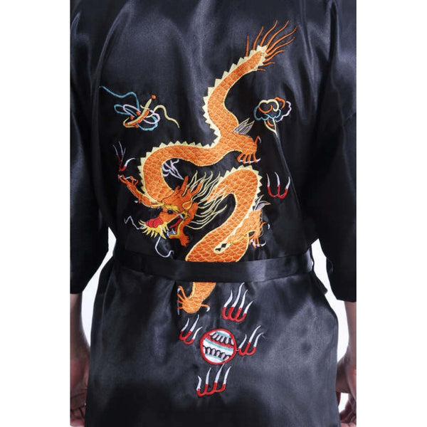 Chinese Dragon Satin Kimono Robe (Black)