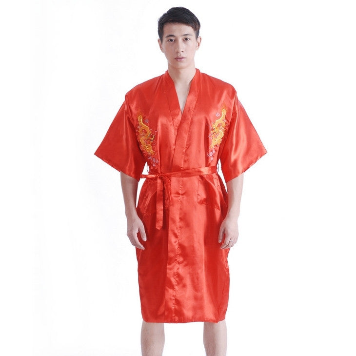 Chinese Dragon Satin Kimono Robe (Red)