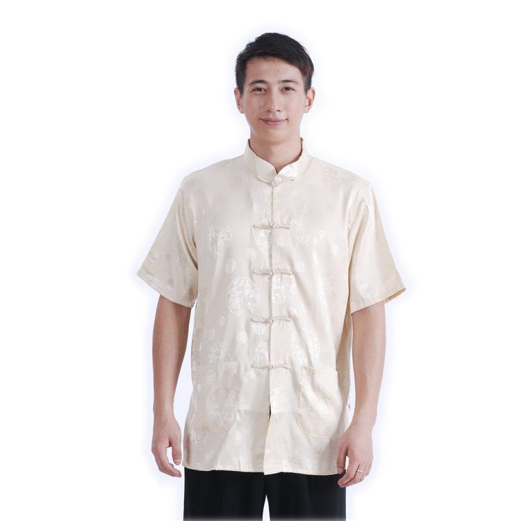 Beige Men's Dragon Shirt M03
