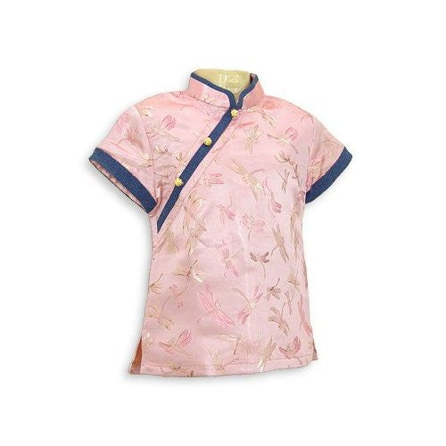 Pink Dragonfly Brocade Girls Blouse