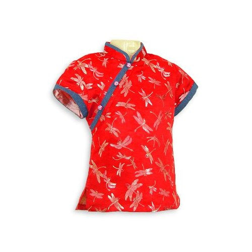Red Dragonfly Brocade Girls Blouse