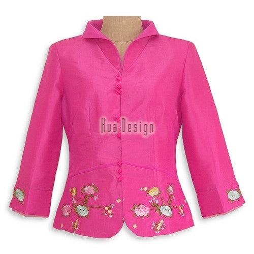 Pink Floral Embroidery Jacket SB008