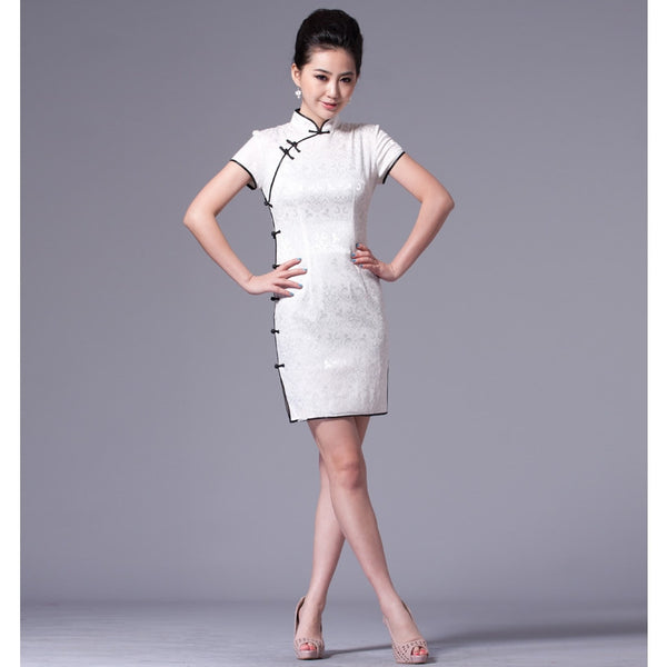 Traditional Cheongsam Dress (White)