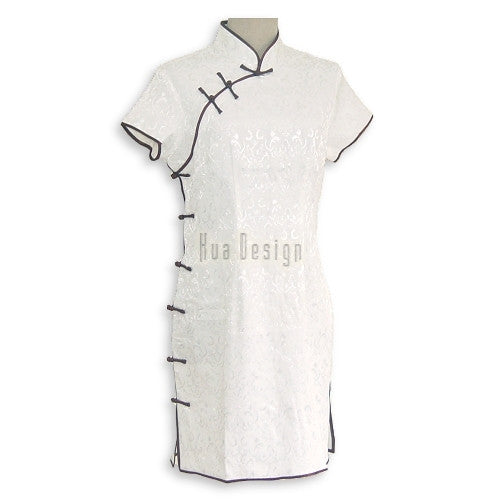 White Traditional Cheongsam Dress