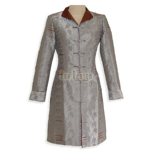 Gray Long Mandarin Jacket SE009