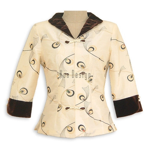 Cream Peacock Feather Pattern Jacket