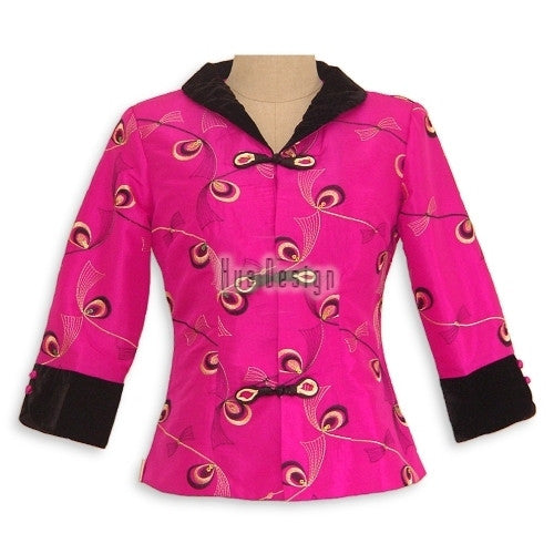 Pink Peacock Feather Pattern Jacket